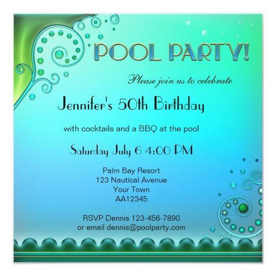 Elegant Aqua Pool Party Invitation  Zazzle