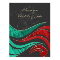 "Elegant ""aqua  red"" Thank You Cards"
