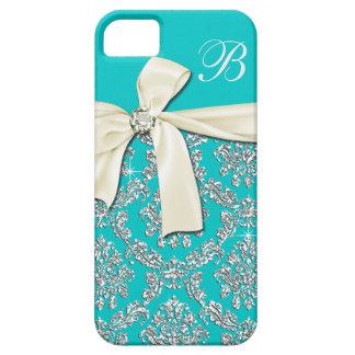 Elegant Aqua Silver Damask Diamond Bow Monogrammed iPhone SE/5/5s Case
