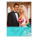 Elegant aqua swirls wedding thank you photo card