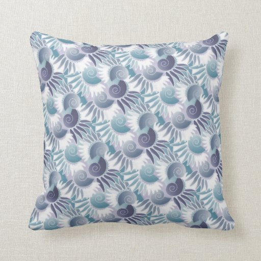 Elegant Aqua Teal and Purple Art Deco Glamour Pillow
