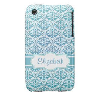 Elegant Aqua Teal Blue Calligraphic Damask iPhone 3 Cover