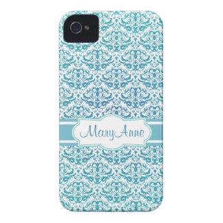 Elegant Aqua Teal Blue Calligraphic Damask iPhone 4 Cover