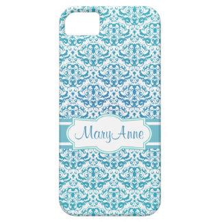 Elegant Aqua Teal Blue Calligraphic Damask iPhone SE/5/5s Case