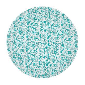 Elegant Aqua Teal Damask Swirl Scrolls Cutting Board