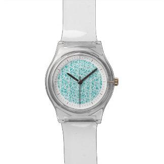 Elegant Aqua Teal Damask Swirl Scrolls Watch