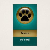 elegant aqua teal paw print pet care Business Card