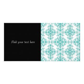 Elegant Aqua Turquoise over White Damask Pattern Card