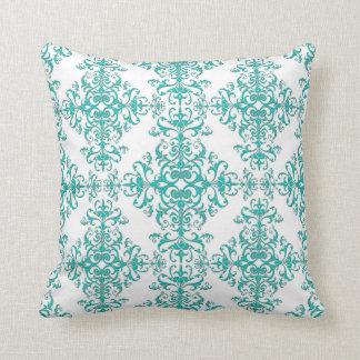 Elegant Aqua Turquoise over White Damask Pattern Throw Pillow