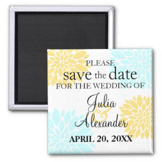 Elegant Aqua Yellow Floral Burst Save The Date 2 Inch Square Magnet