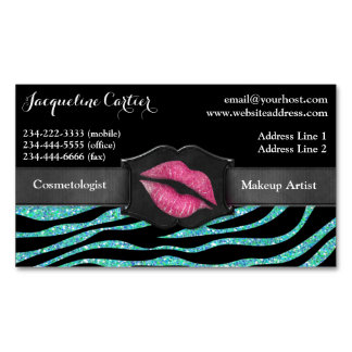 Elegant Aqua Zebra Glitter Kiss Cosmetologist Magnetic Business Cards (Pack Of 25)
