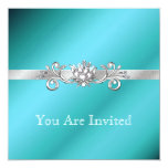 "Elegant Aquamarine and Silver Party Invitations 5.25"" Square Invitation Card"