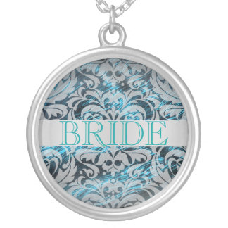 Elegant Aquamarine Damask Bride Wedding Necklace