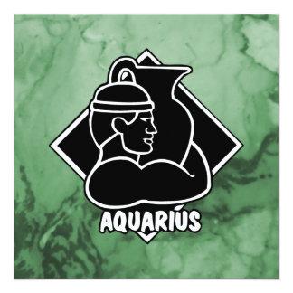 Elegant Aquarius Zodiac Sign Marble Chic Green Card