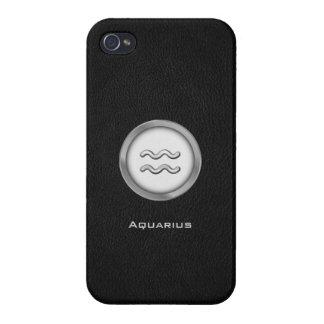 Elegant Aquarius Zodiac Sign with Black Leather | iPhone 4 Covers
