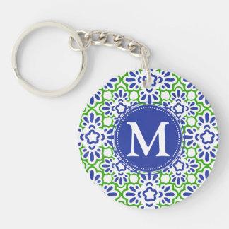 Elegant Arabesque Damask Blue & Green Personalized Acrylic Key Chain