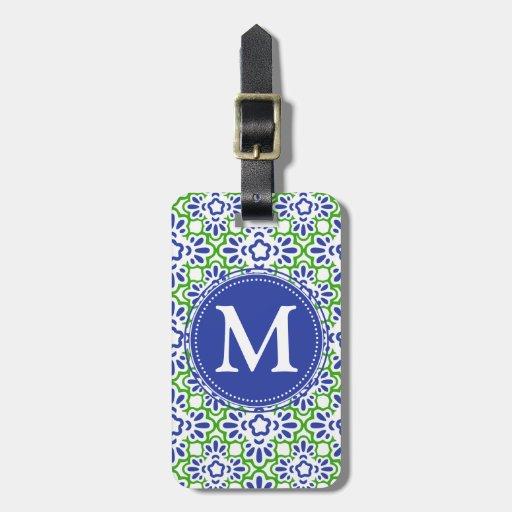 Elegant Arabesque Damask Blue & Green Personalized Travel Bag Tags