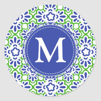 Elegant Arabesque Damask Blue & Green Personalized Sticker