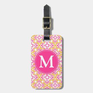 Elegant Arabesque Damask Hot Pink Personalized Tags For Luggage