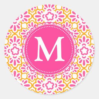 Elegant Arabesque Damask Hot Pink Personalized Stickers