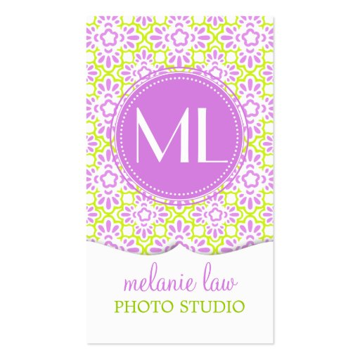 Elegant Arabesque Damask Lilac Purple Personalized Business Card Template