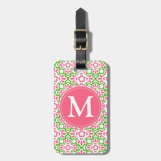 Elegant Arabesque Damask Pink & Green Personalized Bag Tag