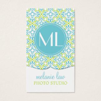 Elegant Arabesque Damask Turquoise Personalized Business Card