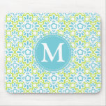 Elegant Arabesque Damask Turquoise Personalized Mouse Pad