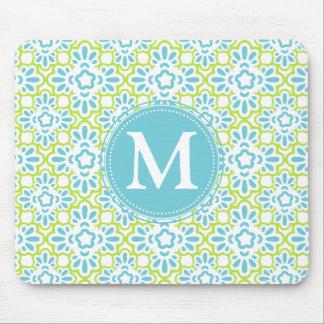 Elegant Arabesque Damask Turquoise Personalized Mouse Pad