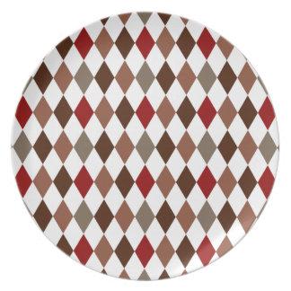 Elegant Argyle Diamond Pattern Dinner Plate