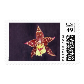 Elegant art deco black orchid postage stamp