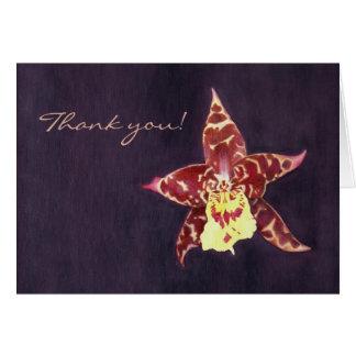 Elegant art deco black orchid thank you card