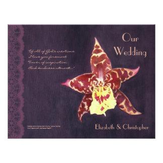 Elegant art deco black orchid wedding program custom flyer