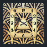 """Elegant Art Deco Clock<br><div class=""""desc"""">This Art Deco Style clock looks very elegant and I could imagine this wall clock would look terrific on a wall in your home. I created this clock with elegance in mind. It is very Art Deco in black and gold. This would also make a lovely gift for a wedding...</div>"""
