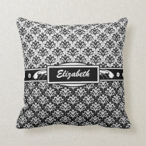 Elegant Art Deco Floral Black and White Damask Throw Pillow
