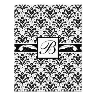 Elegant Art Deco Floral Damask Custom Monogram Custom Invitation