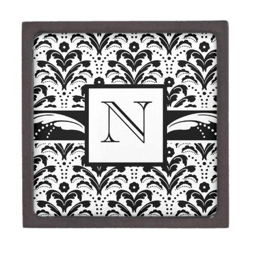 Elegant Art Deco Floral Damask Custom Monogram Premium Gift Boxes