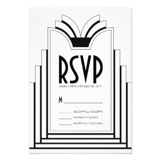 Elegant Art Deco Frame Retro Wedding RSVP Card
