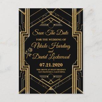 Elegant Art Deco Gatsby Save The Date Card
