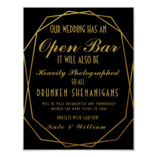Elegant art deco Gold & Black Open Bar Poster