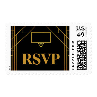 Elegant Art Deco Gold on Black Wedding RSVP Postage