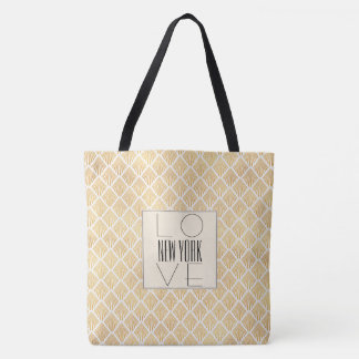 Elegant Art Deco Gold Patterned LOVE NY Tote Bag