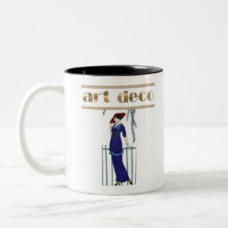 Elegant art deco lady stylish gifts Two-Tone coffee mug