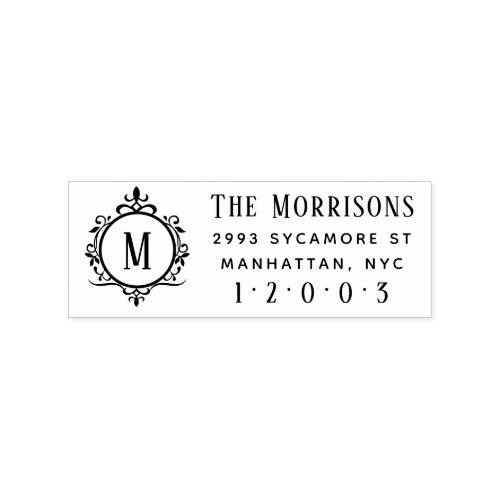 Elegant Art Deco Monogram Family Return Address Rubber Stamp