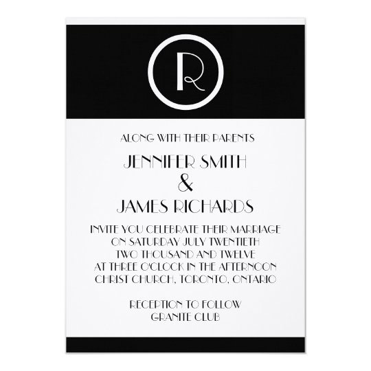 Elegant Art Deco Monogram R Wedding Invitation