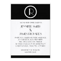 Elegant Art Deco Monogram R Wedding Invitation