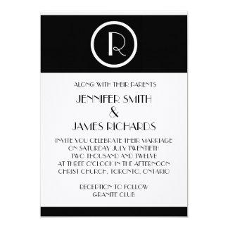"Elegant Art Deco Monogram R Wedding Invitation 5"" X 7"" Invitation Card"