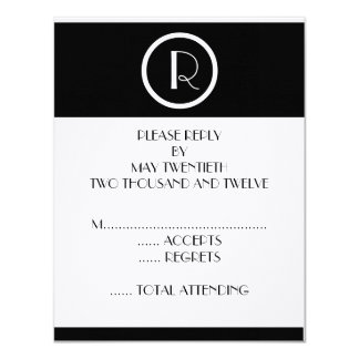 "Elegant Art Deco Monogram R Wedding Reply Cards 4.25"" X 5.5"" Invitation Card"