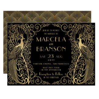 Elegant Art Deco Peacocks Wedding Gold on Black Invitation