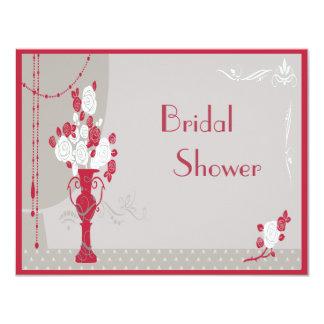 Elegant Art Deco Red & White Roses Bridal Shower Card